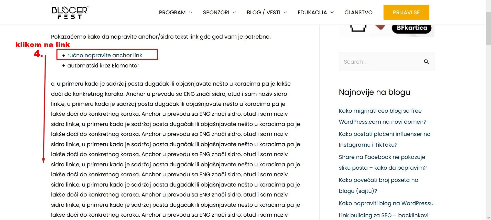 klik primer anchor tekst link